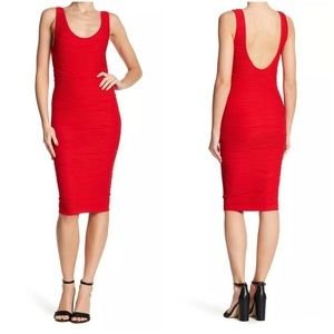 Bebe Red Bodycon Textured Dress